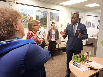 Richmond Mayor Levar Stoney speaking to Health Brigade about the Needle Exchange Program