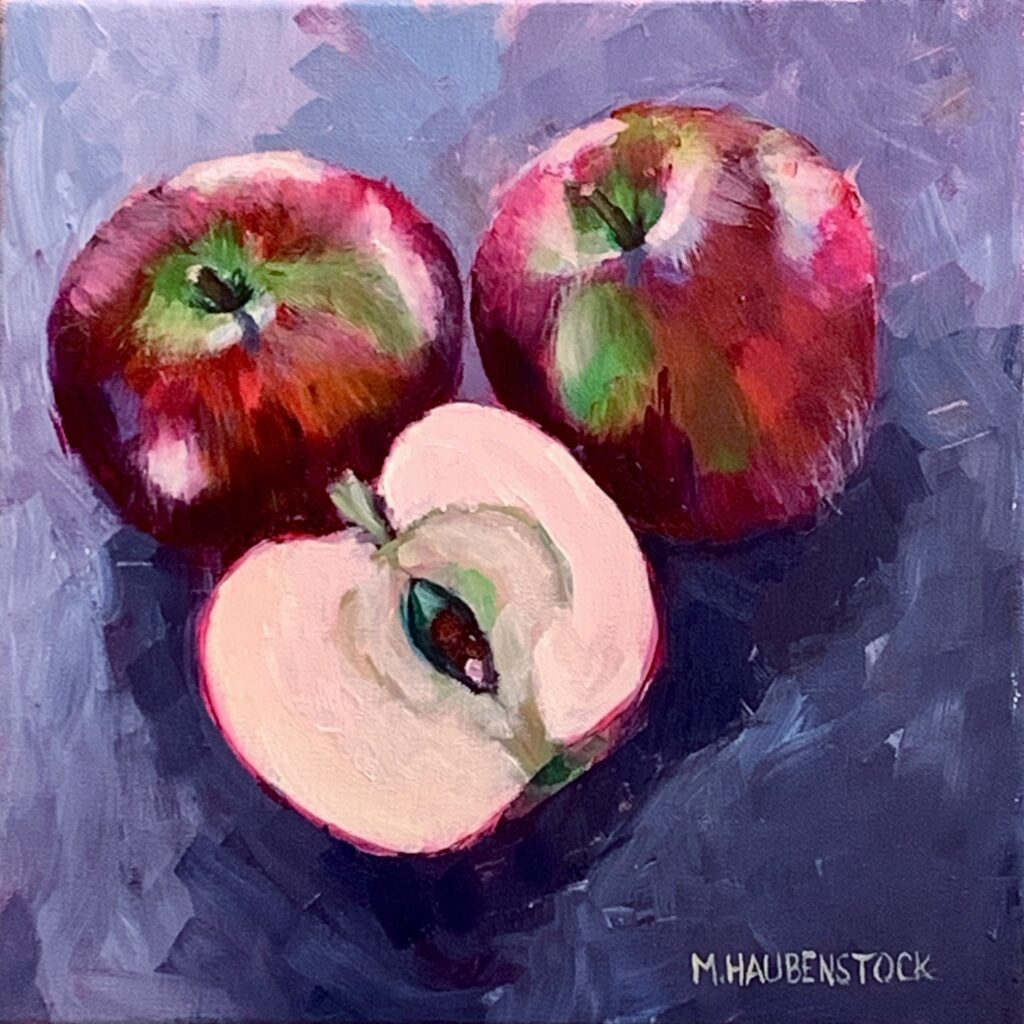 An oil painting of three apples.