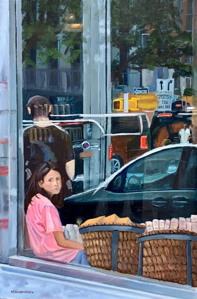 A painting of a girl looking out a store front window.