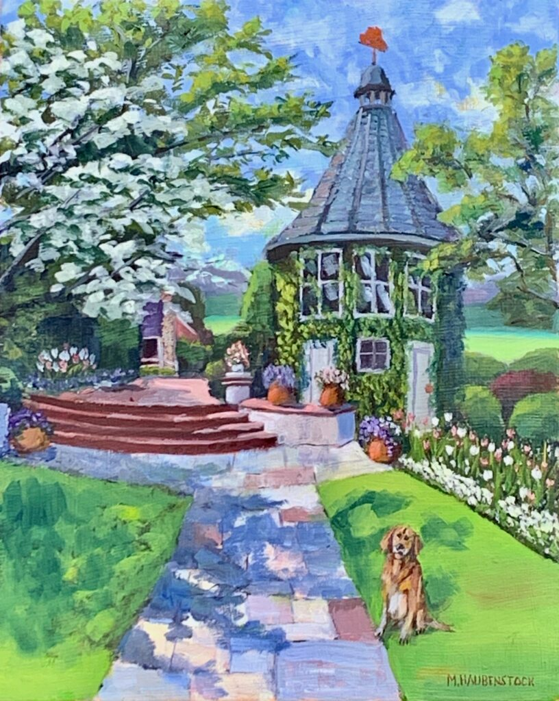 Oil painting of a little stone gazebo.