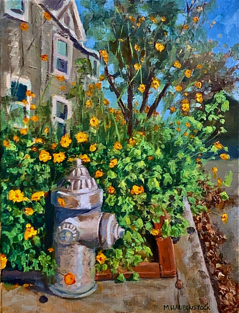 Oil painting of a fire hydrant surrounded by flowers.
