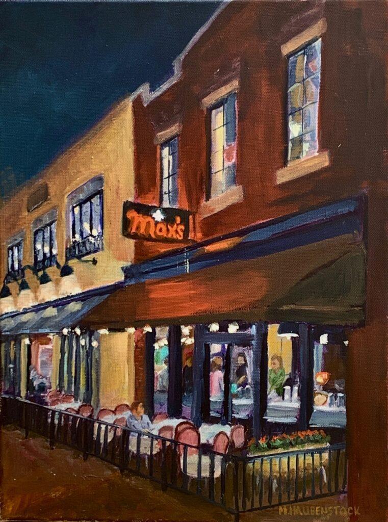An oil painting of a popular Richmond, VA restaurant at night.