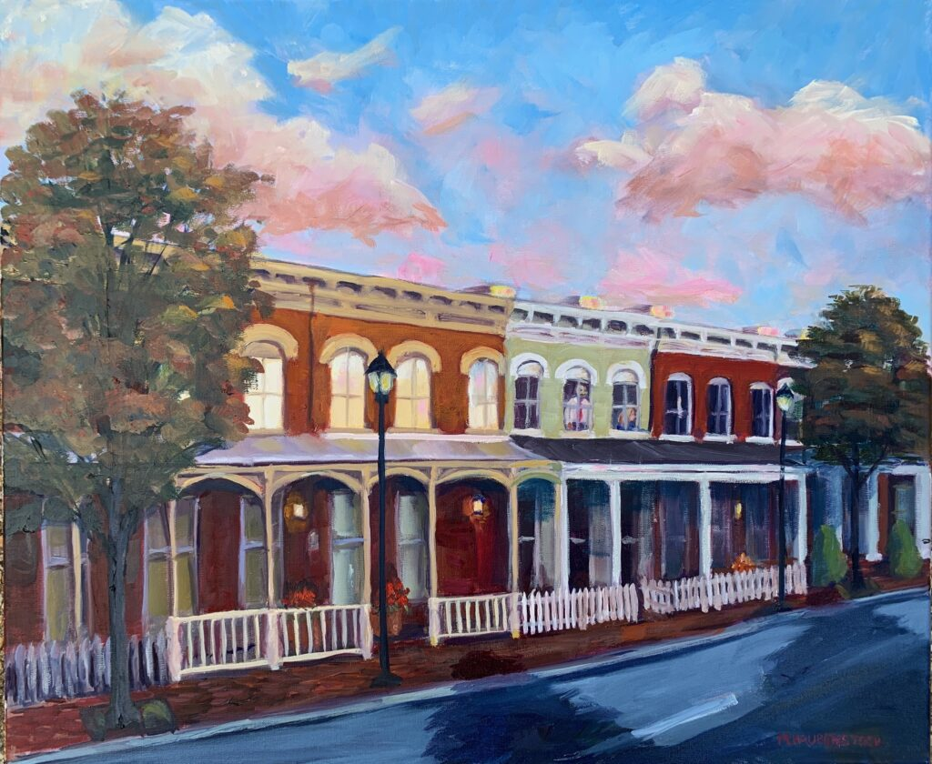 A painting of row houses in Churchill in Richmond, Va.