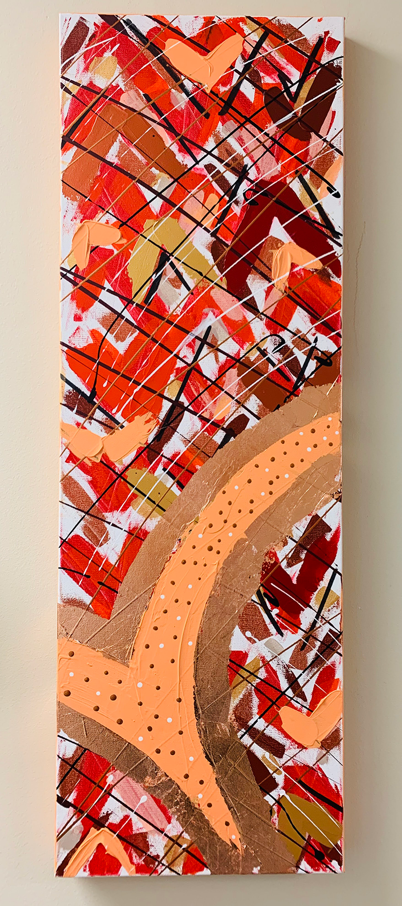 A long vertical abstract painting.