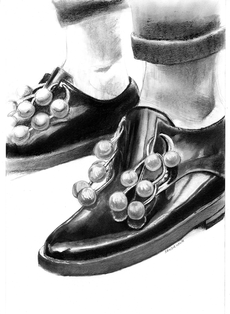 Charcoal drawing of man's shoes.