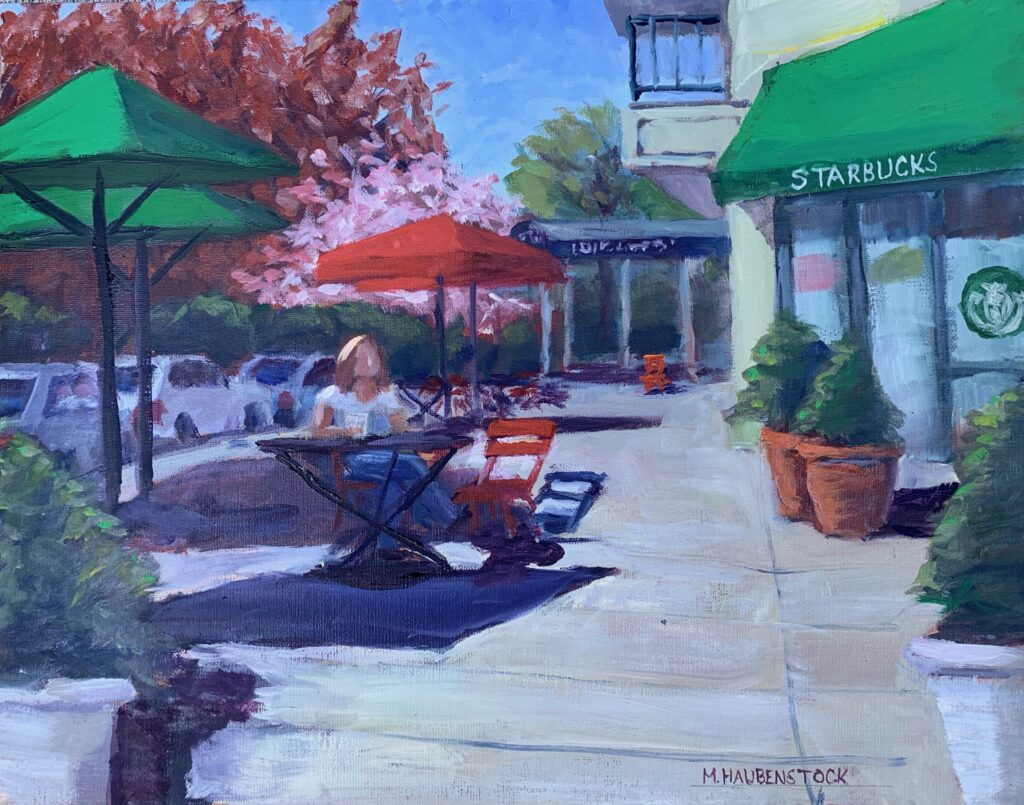 A painting of a woman sitting at an outdoor table drinking coffee.