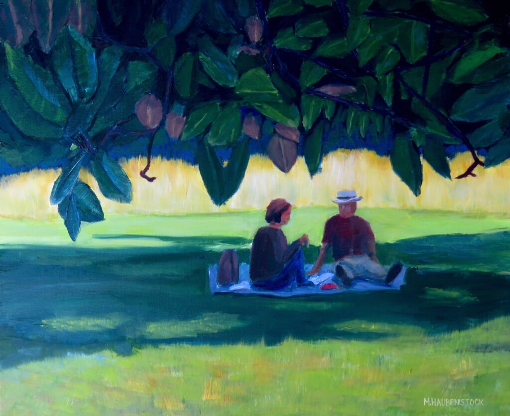 A painting of a couple having a picnic under a magnolia tree.