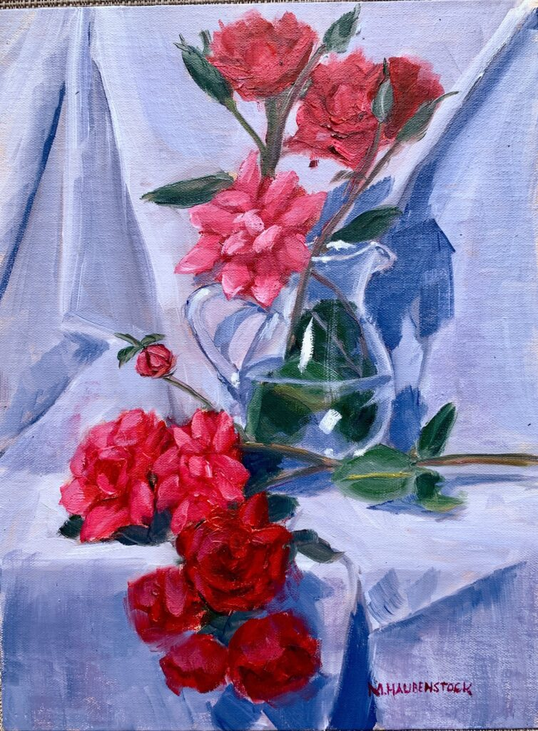 A painting of red roses.