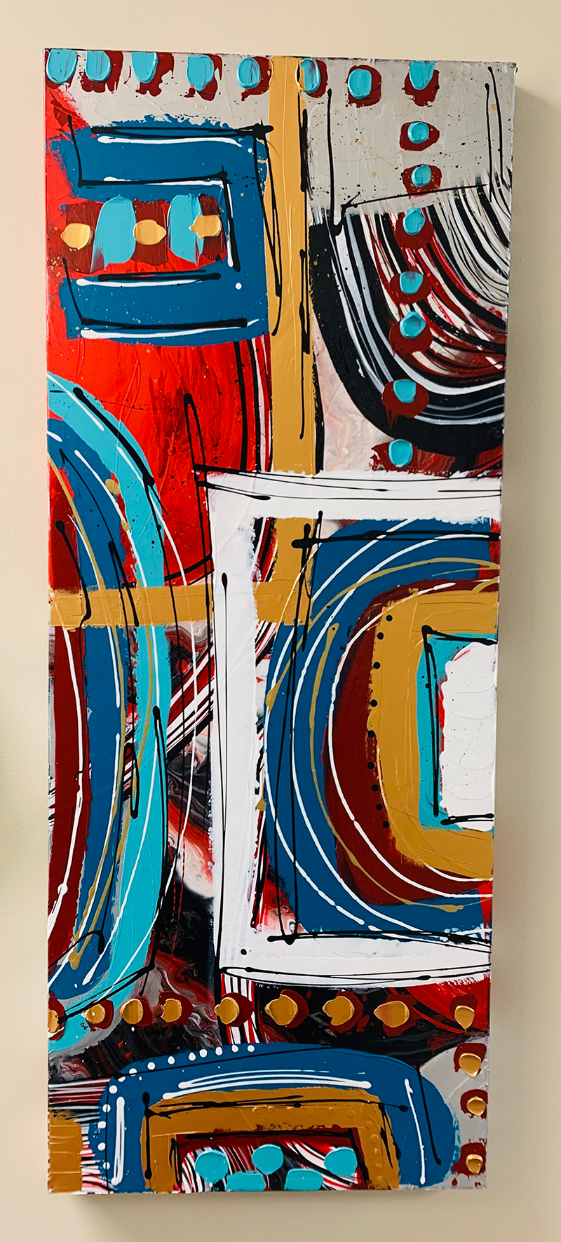 Long vertical abstract painting.