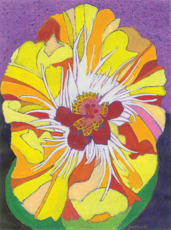 Rendering of a yellow colored hibiscus flower.