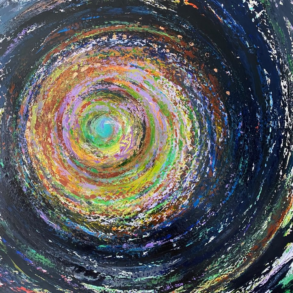 A painting of a spiral with dark to light colors.