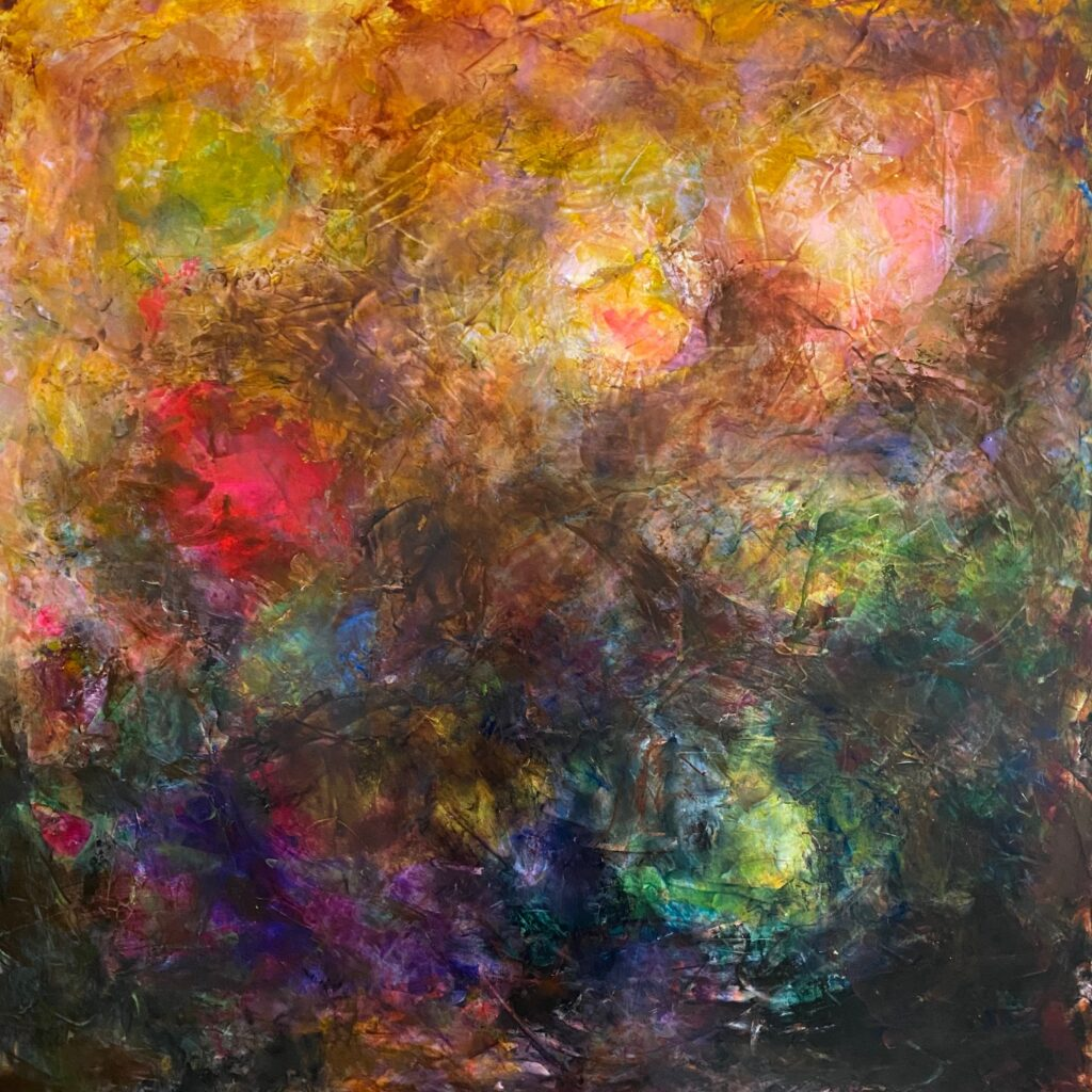An acrylic painting of blotches of color.