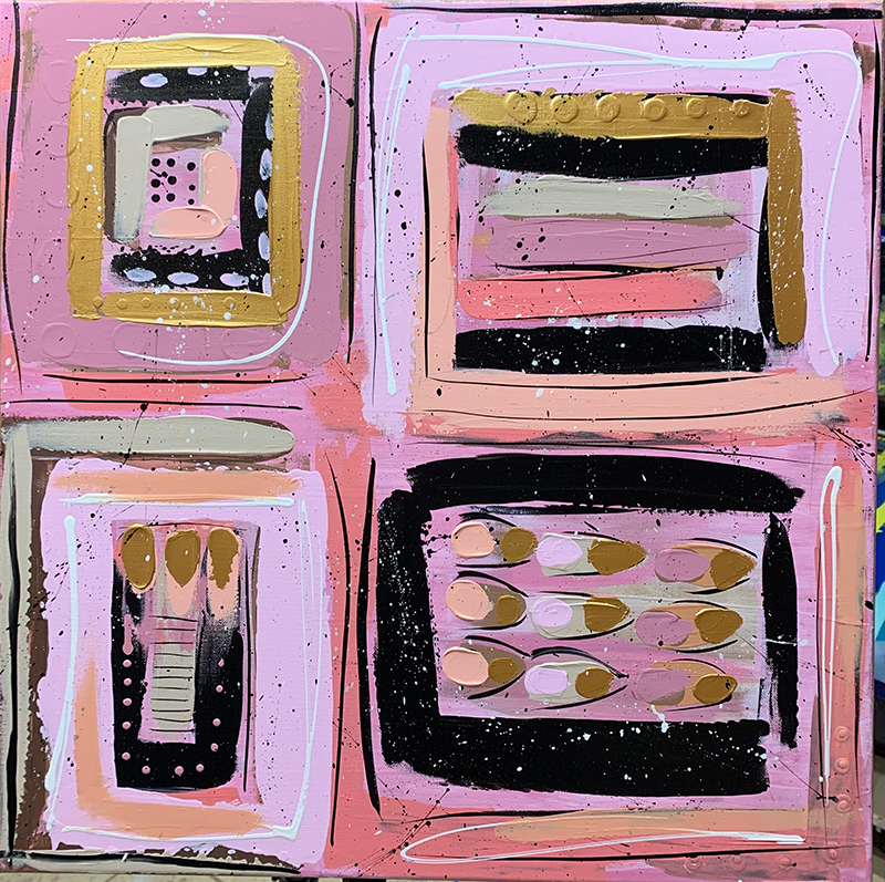 Painting of pink squares.