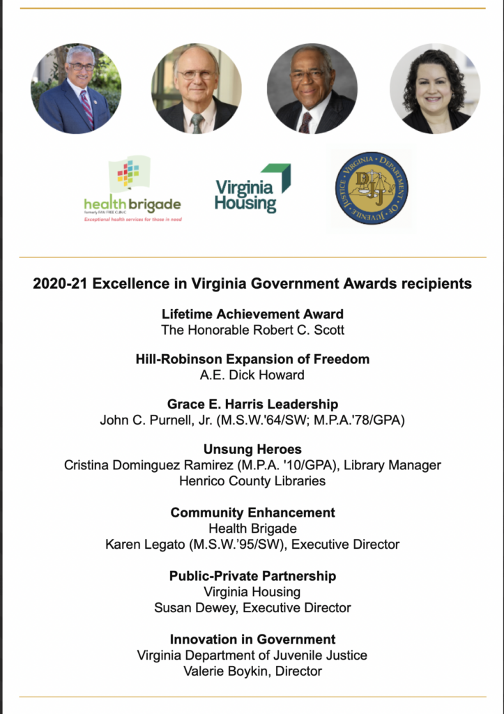 Graphic listing winners of Excellence Award from VCU.