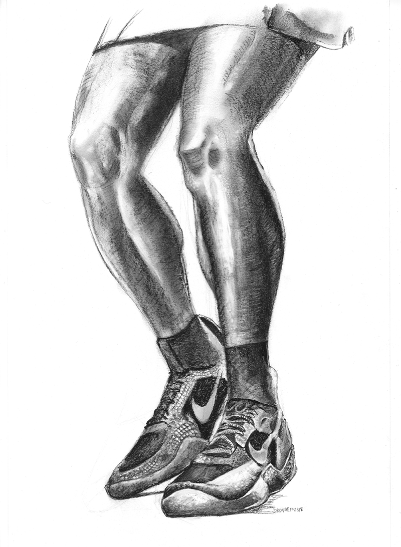 Charcoal drawing of Serena Williams legs and shoes.