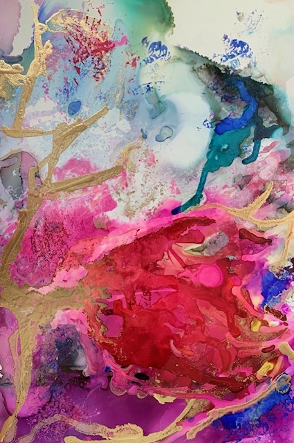 Abstract art painting of tulip.