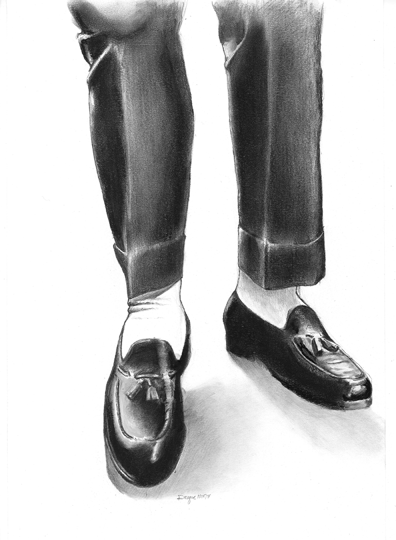Charcoal drawing of man's dress loafers.