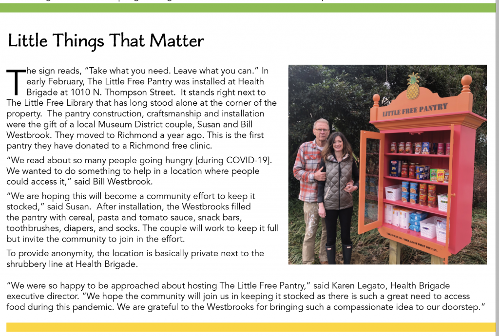 Article about outdoor food pantry.